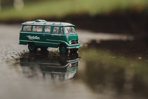 Vintage Model Bus in Landscape