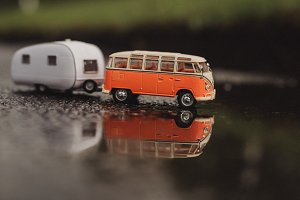 Old Model Bus and Caravan Trailer
