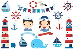 Nautical clipart - boat, lighthouse