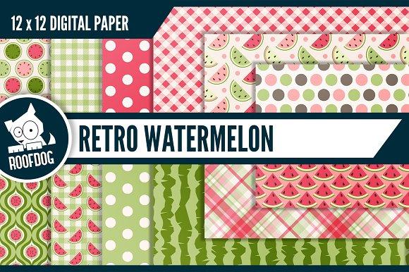 Retro watermelon digital paper