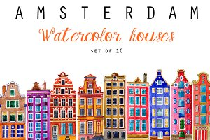 Watercolor Houses - Amsterdam