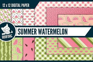Summer watermelon digital paper