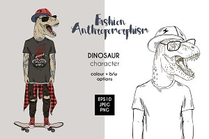 Dino on skateboard, anthros