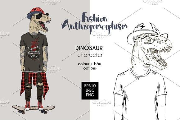 Dino On Skateboard Anthros
