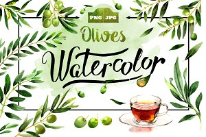 Olives watercolor PNG clipart