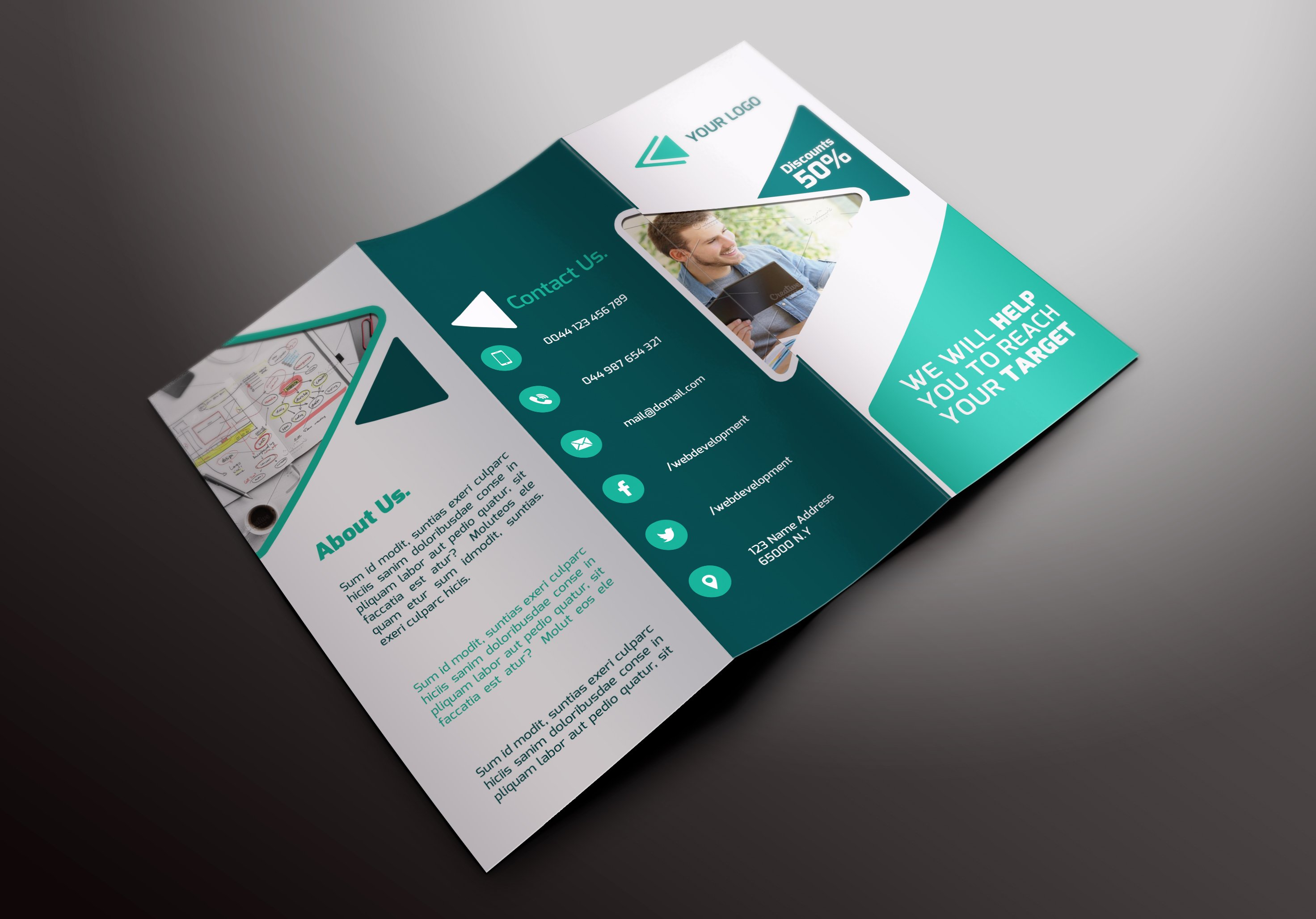 It services tri fold brochures templates creative market for It services brochure template