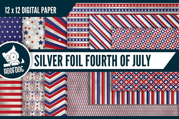 Fourth Of July Digital Paper Silver