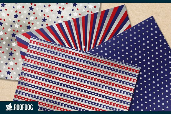 Fourth of July digital paper silver  in Patterns - product preview 2