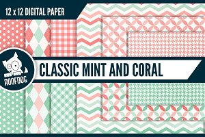 Classic digital paper mint and coral
