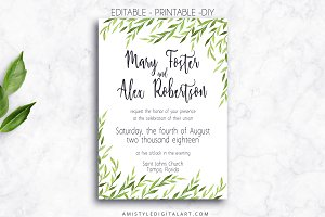 Wedding Invitation - Greenery