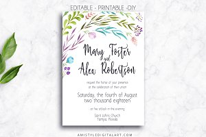Wedding Invitation Template - Leaves