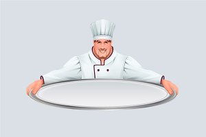 Chief cooker keeps large empty tray