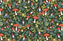 Woodland Gnomes Seamless Pattern