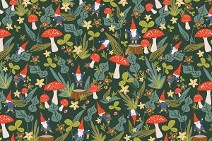 Woodland Gnomes Seamless Pattern