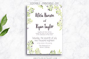 Wedding Invitation Template - Olive