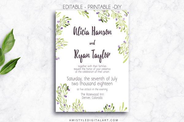 Wedding Invitation Template - Olive