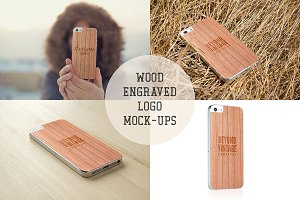 Wood Engraved Logo Mock-up Bundle