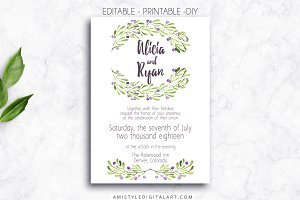 Wedding Invitation Template - Olives