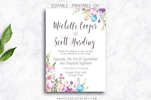Wedding Invitation Template - Floral