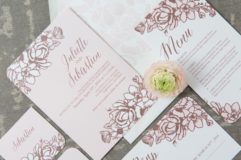 Rose Gold Floral Wedding Suite Invitation Templates Creative Market