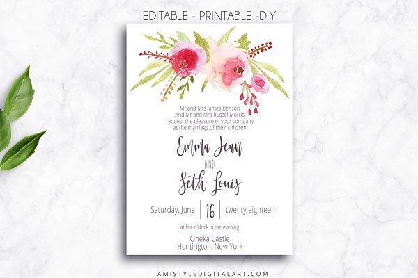 Wedding Invitation Template - Roses