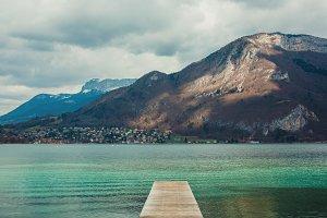 Pier on the mountain lake
