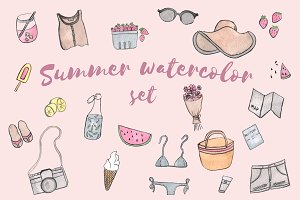 Summer watercolor set