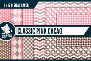 Classic pink cacao digital paper