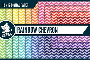 Rainbow chevron digital paper