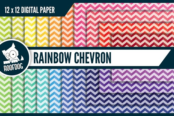 Rainbow Chevron Digital Paper
