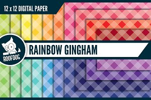 Rainbow gingham digital paper