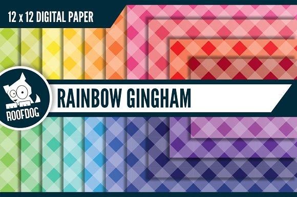 Rainbow Gingham Digital Paper