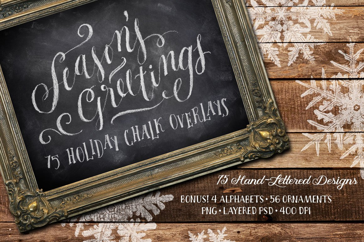 210e652c20c966 75 Holiday Chalk Overlays ~ Illustrations ~ Creative Market