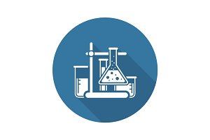 Laboratory Analysis Icon. Flat Design.
