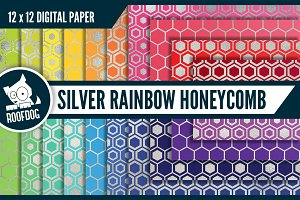 Rainbow silver honeycomb pattern