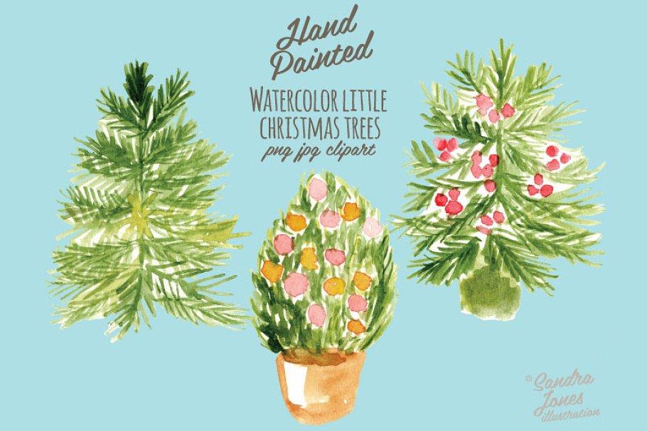 Watercolor Little Christmas Trees Illustrations Creative Market