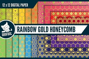 Rainbow gold foil honeycomb pattern