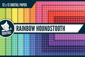 Rainbow houndstooth digital paper