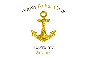 Cute Father's Day card with big glitter anchor