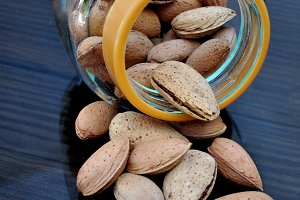 Glass jar with almonds