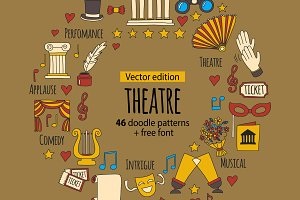 Theatre doodle icons, patterns