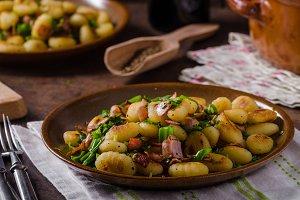 Fried homemade gnocchi