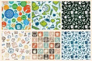 Back to school - icons and patterns