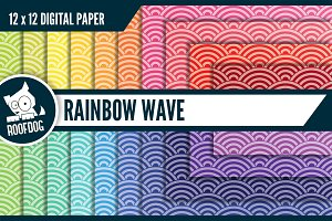 Rainbow wave digital paper