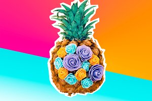 Creative pineapple and flowers.
