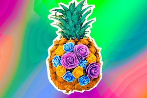 design pineapple and flowers.