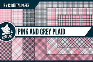 Pink and gray plaid digital paper