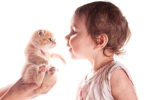 baby girl and kitten