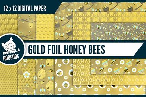 Gold foil honey bee digital paper