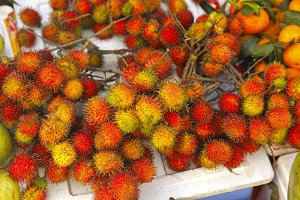 rambutan red ripe berries fruit